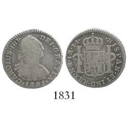 Bogota, Colombia, bust 1 real, Charles IV, 1801/797JJ.