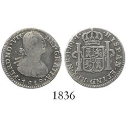 Bogota, Colombia, bust 1 real, Ferdinand VII (bust of Charles IV), 1819FJ, inverted J.
