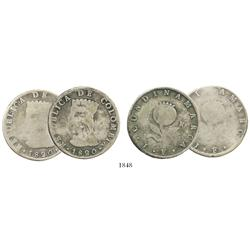 Lot of 2 Bogota, Colombia (Cundinamarca), 8R, 1820JF.