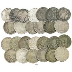 Large study lot of 13 Bogota, Colombia (Cundinamarca), 8R, 1821JF, all different varieties.