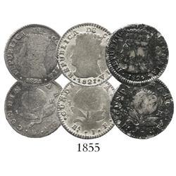 Lot of 3 Bogota, Colombia (Cundinamarca), 1R, 1821JF.