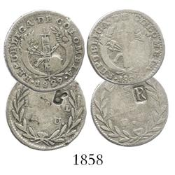 "Lot of 2 Popayan, Colombia, 1R, 1828 and 1829, assayer RU, both with ""R"" countermarks (Ecuador?)."