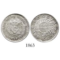 Bogota, Colombia, 2 reales, 1847.