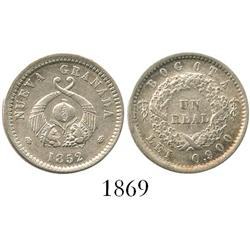 Bogota, Colombia, 1 real, 1852, encapsulated NGC AU-58.