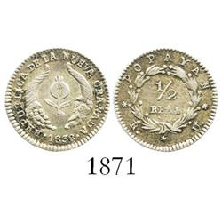 Popayan, Colombia, 1/2 real, 1839RU.