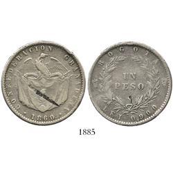 Bogota, Colombia, peso, 1860.
