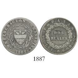 Popayan, Colombia, 2 reales, 1862, 6/sideways 6 in date, 1-year type.