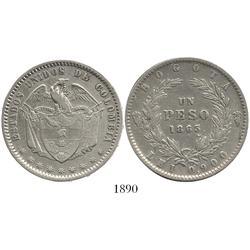 Bogota, Colombia, peso, 1863.