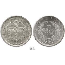 Bogota, Colombia, peso, 1864.