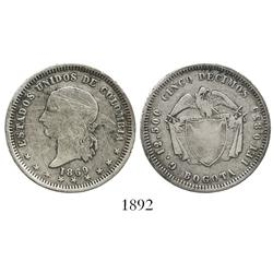Bogota, Colombia, 5 décimos, 1869.