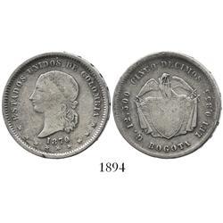 Bogota, Colombia, 5 décimos, 1870.