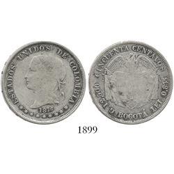 Bogota, Colombia, 50 centavos, 1876.
