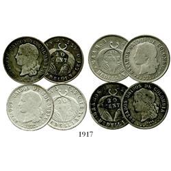 Lot of 4 Medellín, Colombia, 20 centavos: 1876, 1882 (GRAM), 1882 (GRAMOS), 1884.