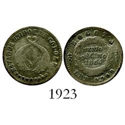Bogota, Colombia, 1/2 décimo, 1864, Almanzar/Seppa Plate Coin.