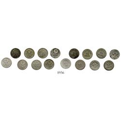 Lot of 8 Bogota, Colombia, 2-1/2 centavos: 1872, 1873, 1875, 1877, 1878 (2), 1879, 1880.