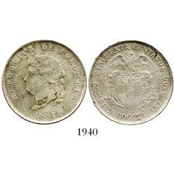 "Bogota, Colombia, 50 centavos, 1887, ""Cocobola,"" 2/2 in 12,500."