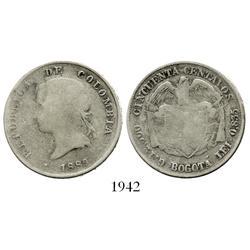 Bogota, Colombia, 50 centavos, 1889, round-point 9.