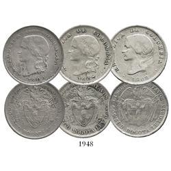 Lot of 3 Bogota, Colombia, 50 centavos: 1906, 1907, 1908.