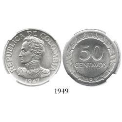 Bogota, Colombia, 50 centavos, 1947-B, encapsulated NGC MS-64.