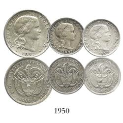 Lot of 3 Bogota, Colombia (struck in Brussels), 20 centavos (1) and 10 centavos (2), all dated 1897.