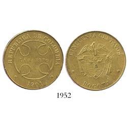 Bogota, Colombia, brass 50 centavos, 1901, Lazareto.