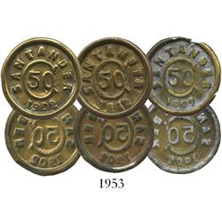 Lot of 3 Bucamaranga, Colombia (Santander) brass uniface 50 centavos, 1902.