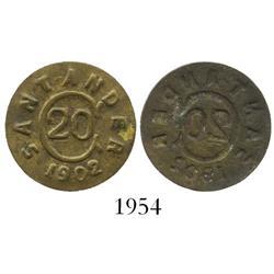 Bucamaranga, Colombia (Santander), 20 centavos, 1902, rare.