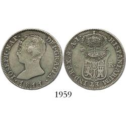 Costa Rica, 2 reales, Type III counterstamp (1845) on a Madrid, Spain, 4R of 1811AI (Joseph Napoleon