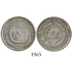 Costa Rica, 50 centimos, 1923 countermark (Type VIII) on an 1893-Heaton 25 centavos.