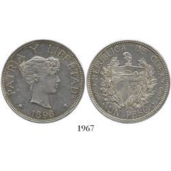 Cuba, 1 peso, 1898, rare.