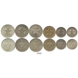 Lot of 6 Cuban minors: three 20 centavos (1920, 1932 and 1948), two 10 centavos (1915 and 1920), and