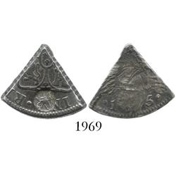 Curacao, 3 reaals, 1/5 cut of a Spanish colonial bust 8R of 1795 with 5-petalled roseace circular co