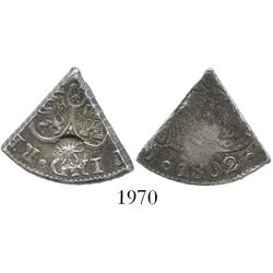 Curacao, 3 reaals, 1/5 cut of a Spanish colonial bust 8R of 1802 with 5-petalled roseace circular co