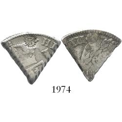 "Curacao, 3 reaals, 1/5 cut of a Spanish colonial bust 8R of Charles IV with countermark ""3"" in denti"