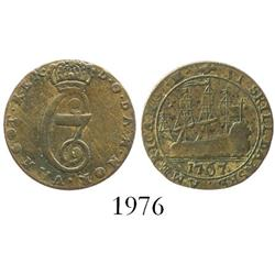 Danish West Indies (struck in Copenhagen), copper 6 skilling, 1767.