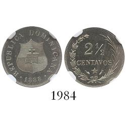 Dominican Republic (struck in Paris), proof copper-nickel 2-1/2 centavos, 1888-A, large date, encaps
