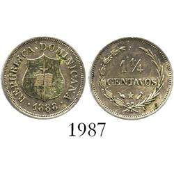 Dominican Republic, copper-nickel 1-1/4 centavos, 1888, rare grade.