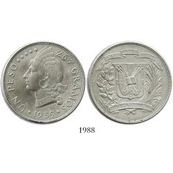 Dominican Republic, 1 peso, 1939.