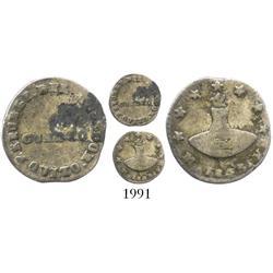 Quito, Ecuador, 1/4 real, 1843MV, scarce.