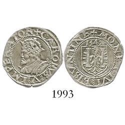 Besancon, Franche-Comte, France, silver karolvs, Charles V, 1542.