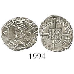 Besancon, Franche-Comte, France, silver half blanc, Charles V, 1551.