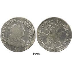 France (Aix Mint), 1/2 ecu, Louis XIV, 1701-&, struck over previous issue.