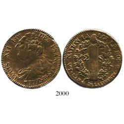 France (Strasbourg mint), copper 2 sols, Louis XVI, 1792-BB, l'an 4.