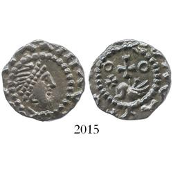 Anglo-Saxon England (London), silver sceatta, ca. 700-750 AD, Series B.