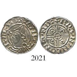 Anglo-Saxon England, penny, Cnut (1016-1035 AD), helmet type.