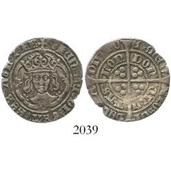 England, groat, Henry VII, facing bust, mintmark greyhound's head (1502-4).