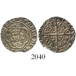 England, half groat, Henry VII, facing bust, mintmark tun (1493-5), Canterbury mint.