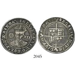 London, England, shilling, Edward VI, fine silver issue, mintmark tun (1551-3).