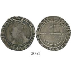 London, England, shilling, Elizabeth I, fifth issue, mintmark scallop (1584-6).