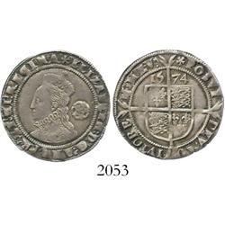 London, England, sixpence, Elizabeth I, third issue, 1574.